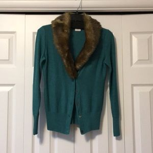 CAbi Sweater with Detachable Faux Fur Collar